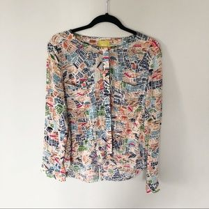 Maeve long sleeve map print button up shirt